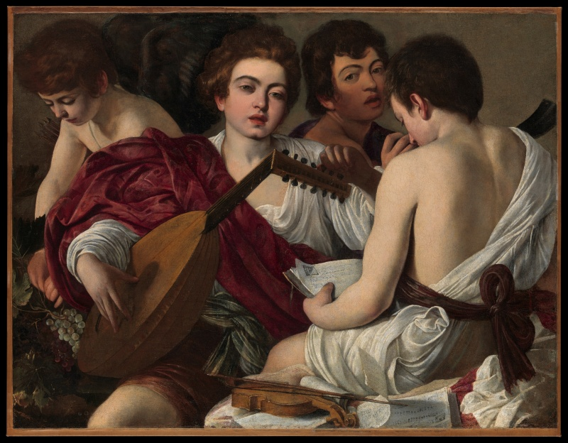 Caravaggio (Michelangelo Merisi) (Italian, Milan or Caravaggio 1571–1610 Porto Ercole) The Musicians, ca. 1595 Oil on canvas; 36 1/4 x 46 5/8 in. (92.1 x 118.4 cm) The Metropolitan Museum of Art, New York, Rogers Fund, 1952 (52.81) http://www.metmuseum.org/Collections/search-the-collections/435844
